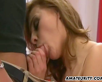Busty non-professional ExGf anal three-some with facial