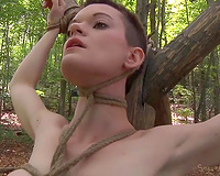 Short haired fastened up wench acquires brutally face hole drilled in the woods
