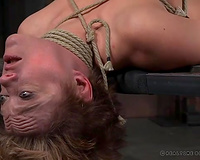 Busty sexy milf white lady on the table tied and gagged bare