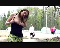 Nasty a-hole Russian girlfriend flashes her mounds and fur pie on public