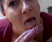 Brunette older white women engulfing my ramrod balls unfathomable and receives large facial