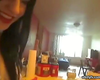 Slutty and perverted dark brown loved to ride plastic marital-device