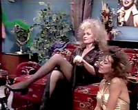 Vintage erotic movie scene compilation with 2 blondies and sexy brunette