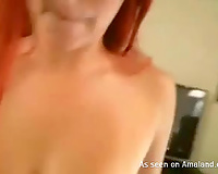 Adorable redhead hipster girl with glasses blowing cock