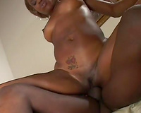 Slutty swarthy whore rides monstrous sausage of her freak