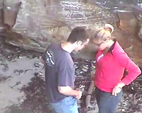 Blond haired bitchie casual bitch was caught on webcam during oral sex sex outdoors