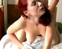 Busty French floozy gives great orall-service previous to I gangbang her hard doggy style