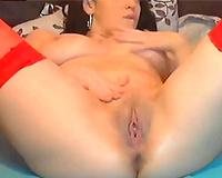 Hot dark brown web camera Married slut sticks a marital-device in her bumhole