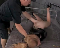 Big bottomed pale blond babe in latex str8 jacket is nailed hard