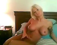 Friend's blonde haired amateur wife with large boobies loves to masturbate a bit