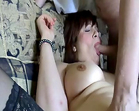 My breasty wife in dark nylons is always willing for a trio