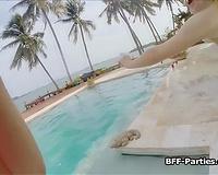 3some rimjob bikini lesbo party