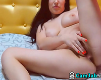 Seductive Brunette Babe Fingering Wet Pussy On Cam