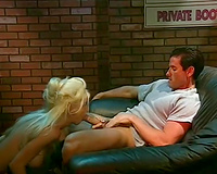 Insatiable golden-haired honey blows 10-Pounder and rides her paramour on the couch