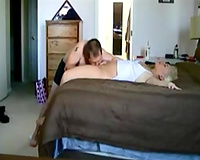 Blonde milf sucks my pecker and enjoys it unfathomable from behind