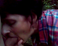 Dark short haired older nympho gives a indeed awesome oral-job to my friend