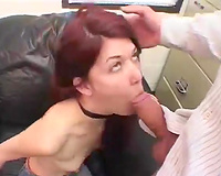 Red-haired floozy gives her perverted paramour an fantastic oral job