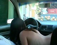 My delightful girlfriend enjoys having sex in my Volkswagen Golf