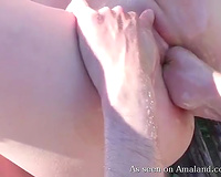 Pale skin alluring juvenile bimbos getting fisted outside on the bench