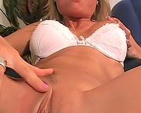 Alluring horny blond girl of my buddy plays with her own muff