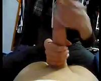 My sporty sweetheart playing with my giant penis like a gear shift stick