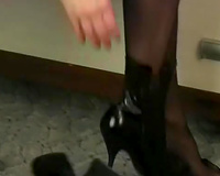 Sweet and cute juvenile sweetheart teases with her feet in dark hose