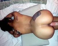 Tattooed lusty whorish slutwife with massive a-hole was drilled doggy style