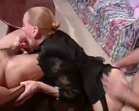 Zesty blond slut receives cheerful by 2 bold fuckers