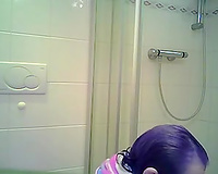 Boobalicious aunt caught naked in a bath taking shower
