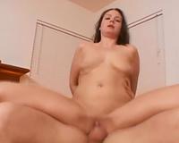 Restless dark brown college slut drilled with large 10-Pounder