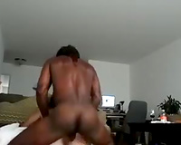 White wet slut rides on a large dark rod of a tall lad