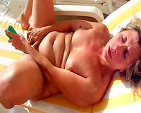 Sex on vacation! Naked Wife With Big Tits Masturbate On The Beach