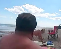 Sex on vacation! Blonde girl fucks one by one the beach boys