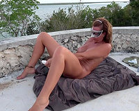 Wife sex on vacation! Hispanic outdoors at the beach using vibrator