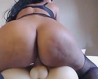 Wonderful Latina dark head in hot stuff was riding her fake schlong