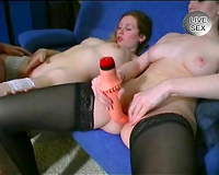 Two horny babes acquires white meaty jock in their immodest mouthes
