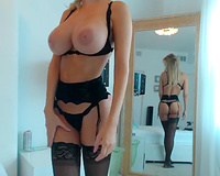 Wife in sexy black lingerie play without husband alone