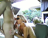 Blond haired floozy in sunglasses want to be pounded from behind