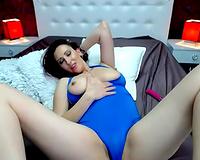 Seductive rich breasted dark brown sexpot with excitement masturbated herself