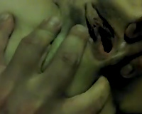 Homemade movie scene with me fingering and licking my wife's shaved muff