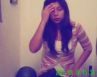 Amateur lengthy haired webcam chick went to the WC to pee on web camera