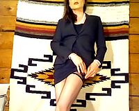 Hot dark brown teasing me on cam clothed up like a secretary