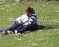 Amateur redhead dirty slut wife jacks off her bf's rod in park - spy webcam
