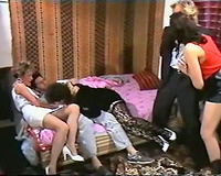 Hot and fascinating classic white whores having orgy on the bed