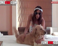 Horny blonde teenage girl rides her K9s swollen dick in her beastiality debut