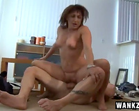 Full bosomed dark brown milf got her tacky kitty drilled hard in spoon pose