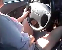 Playing with my cookie upskirt whilst driving a car