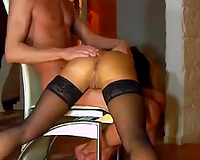 Bent over the laps of my buddy his tanned beauty got fisted hard