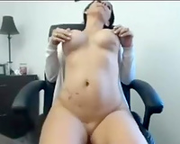 My sex-hungry secretary is fucking herself in the office