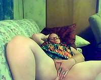 Big bottomed pale brunette hair nerdy hotwife was busy with teasing vagina